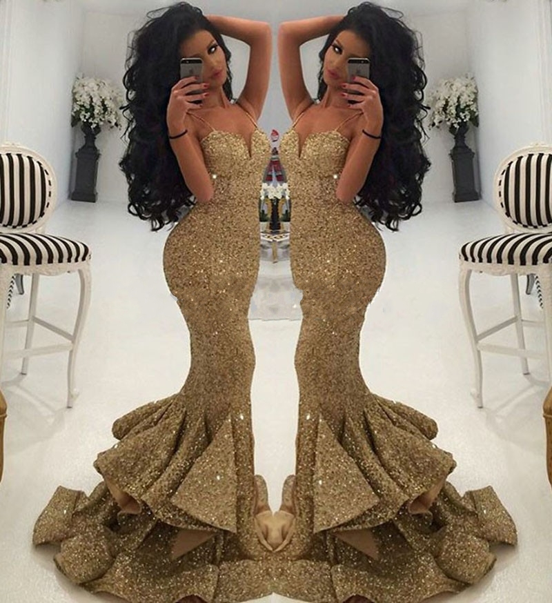Cheap Price Luxurious Gold Sweetheart Sequined Mermaid Prom Dresses 2018 Spaghetti Straps Draped Ruffles Formal Evening Dress