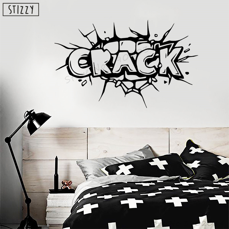 Amicable Stizzy Wall Decal Modern Comic Icons Quote Crack Wall Sticker Boys Bedroom Decoration Accessories Superhero Wallpaper Decor A860 Home Decor