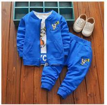 Boys 3PCS Pant Sets 100% Cotton 2017 Autumn Cartoons Dog Coat+T-shirts Casual Outfits Kids Sports Suits CHildren's Clothes Blue