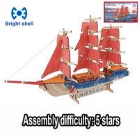 DIY arts and 3D ship Handmade Wooden Craft toys Party Arts Puzzles Model Decoration for children kid Toy Birthday Best Gift