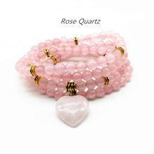 Женские браслеты ожерелье mala с розами и кристаллами 6 мм бусины