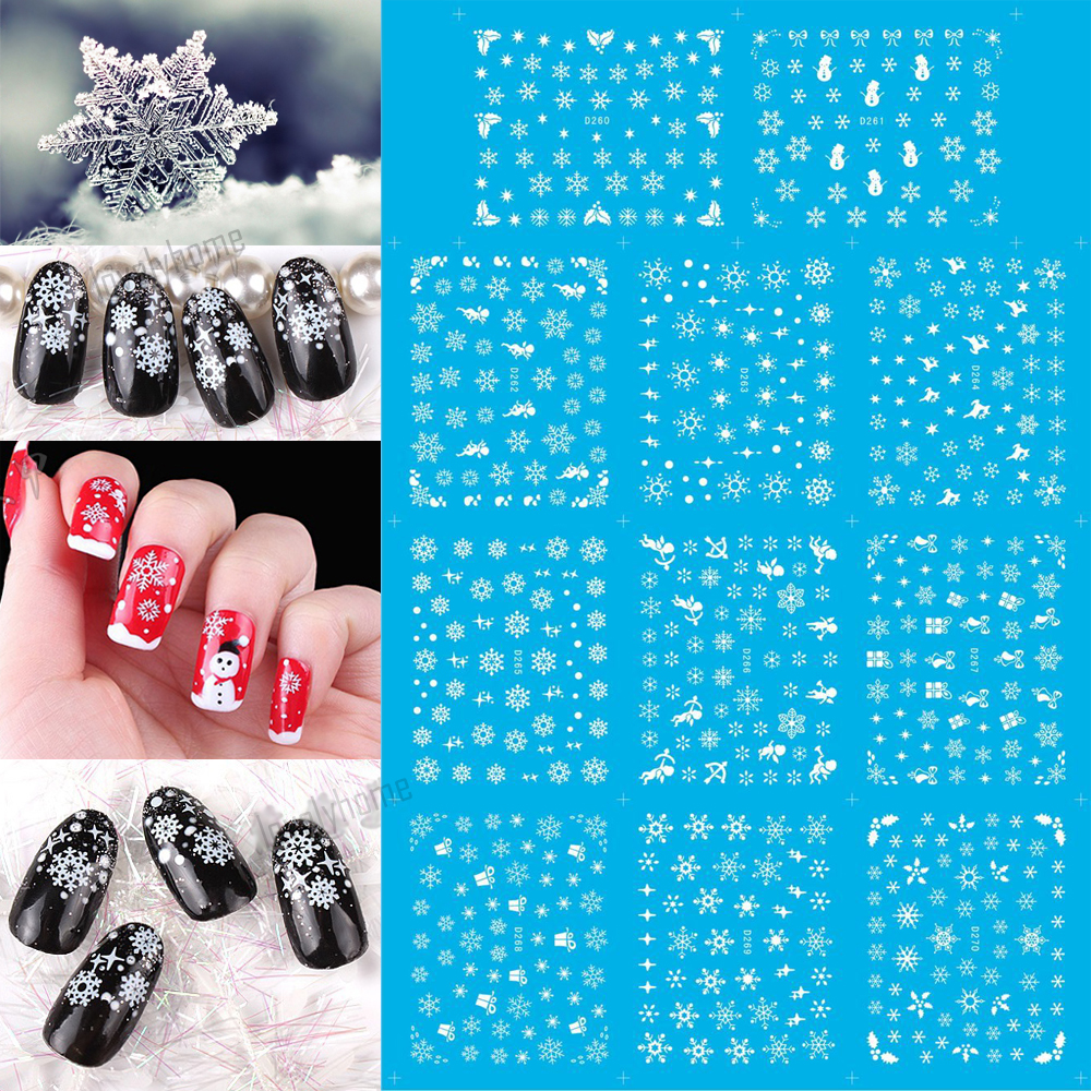11 Sheets XMAS Nail Art Water Transfer Sticker Decals Merry Christmas Snowflakes Angel Stickers Wrap Tip Decoration D260-270 nail art water transfer stickers christmas style mix santa claus bell gift angel etc12 design decals christmas decoration set