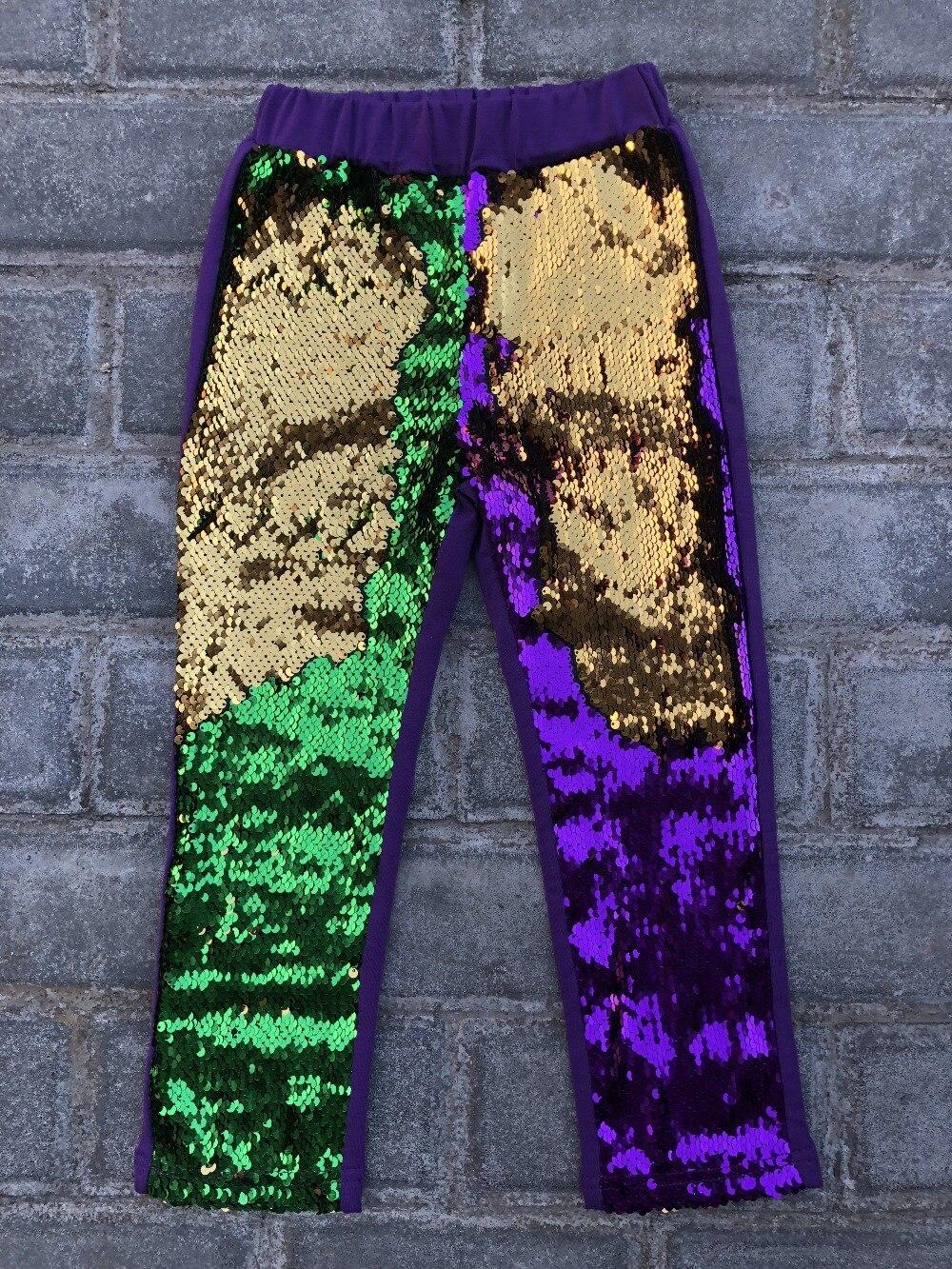 Mardi gras Reversible pailletten leggings hosen Mode Bling glänzende Mädchen leggings lila gold grün Hosen kinder legging mädchen hosen