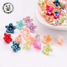 Imitated Pearl Acrylic Beads, Dyed, Flower, 10x5mm, Hole: 1mm