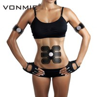 VONMIE Abdominal Arm Fitness S4B04 EMS Trainer Muscles Stimulator ABS Vibrating Slimming Belt Physiotherapy Tens Machine Unisex