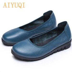 Image 1 - AIYUQI 2020 printemps naturel en cuir véritable femmes chaussures plates noir bouche peu profonde mocassins fond souple dames chaussures décontractées