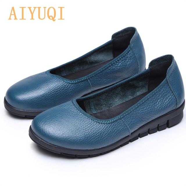AIYUQI 2020 printemps naturel en cuir véritable femmes chaussures plates noir bouche peu profonde mocassins fond souple dames chaussures décontractées