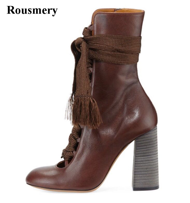 New Design Women Round Toe Genuine Leather Lace-up Thick Heel Ankle Boots Cut-out Brown Blue High Heel Short Boots front lace up casual ankle boots autumn vintage brown new booties flat genuine leather suede shoes round toe fall female fashion