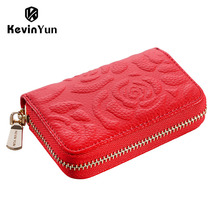 KEVIN YUN fashion genuine leather women credit card holder floral lady small zipper case wallet