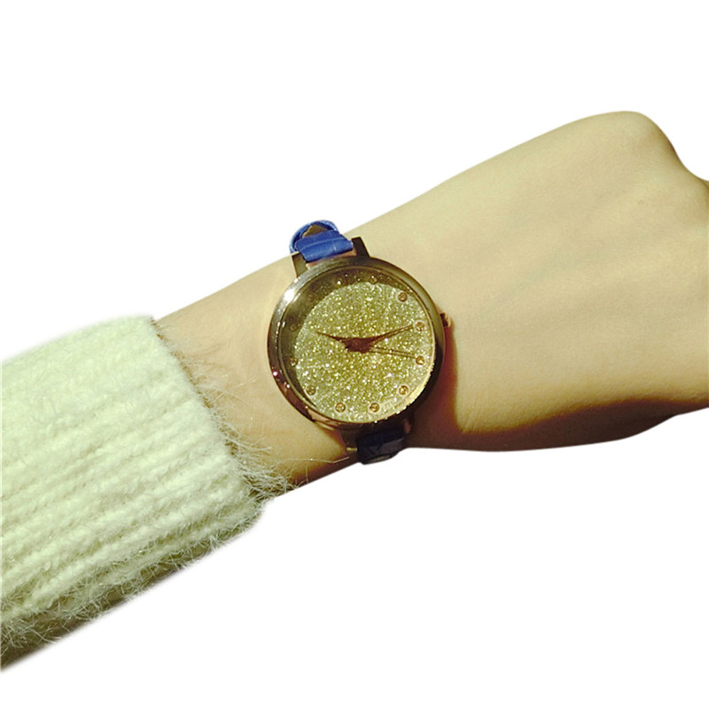 Elegant Simple Dress Women Ladies Watch Starry Trend Of Casual Temperament Simple Crystal Dial Thin Belt