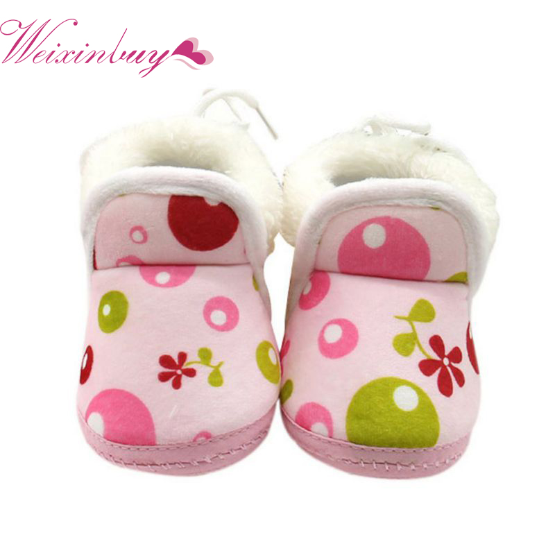 Newborn Kids Fleece Fur Snow Boots Laced Baby Shoes Winter Toddler Ankle Socks