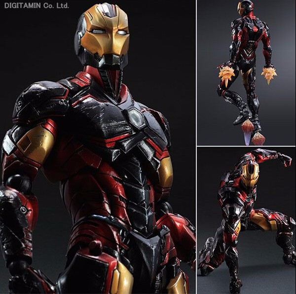 цены Play Arts Kai Iron Man Figure Super Hero Tony Stark Hulkbuster PA 27cm PVC Action Figure Doll Toys Kids Gift Brinquedos