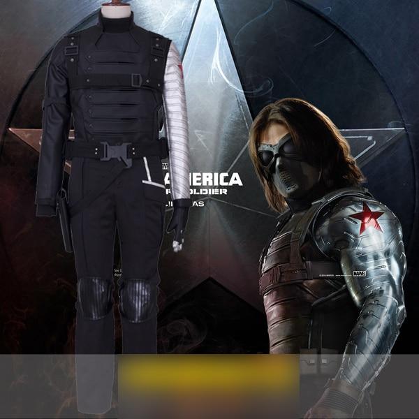 PU Leather Custom made!Captain America: The Winter Soldier Bucky Barnes Full set Uniform Cosplay Costume Halloween Costume