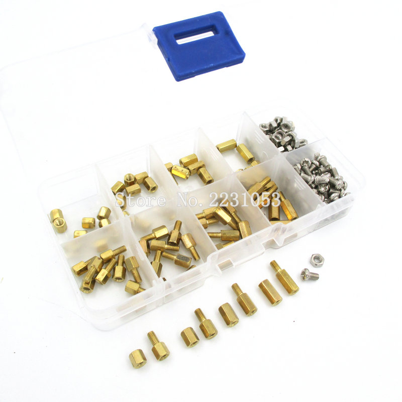 200PCS M3 PCB Hex Male Female Thread Brass Spacer Standoffs/ Screw /Hex Nut Assortment Set Kit With Plastic Box M3*5mm - M3*10mm 50 pcs m3 7mm 6mm male female thread nylon pcb hex stand off screw spacer