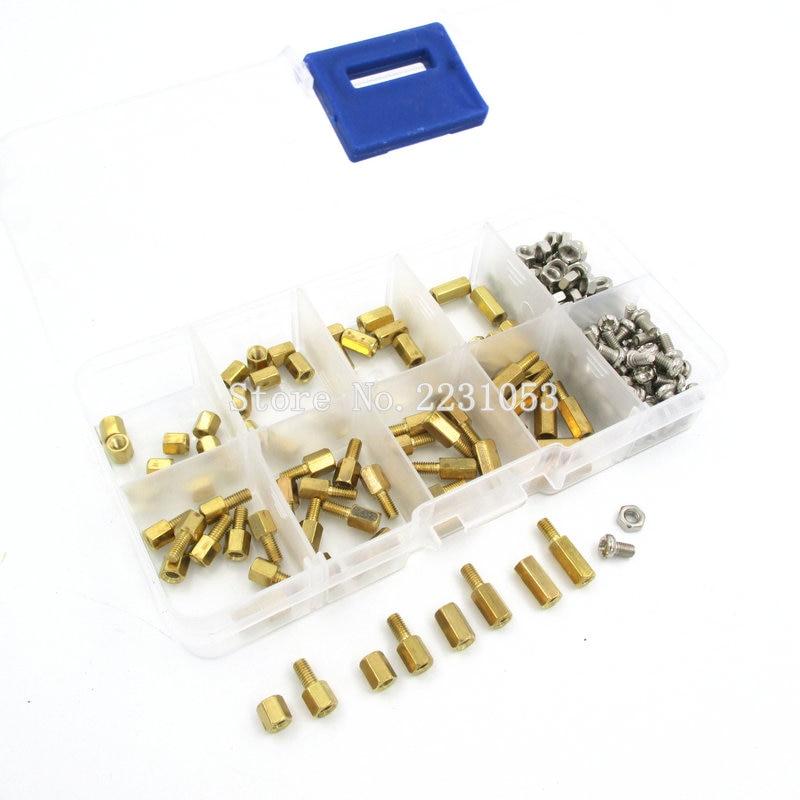 200PCS M3 PCB Hex Male Female Thread Brass Spacer Standoffs/ Screw /Hex Nut Assortment Set Kit With Plastic Box M3*5mm - M3*10mm