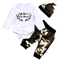 HOT SALE 3pcs Kids Baby Boys Clothes Romper Tops Camouflage Pants+Hat Outfits Set Clothes