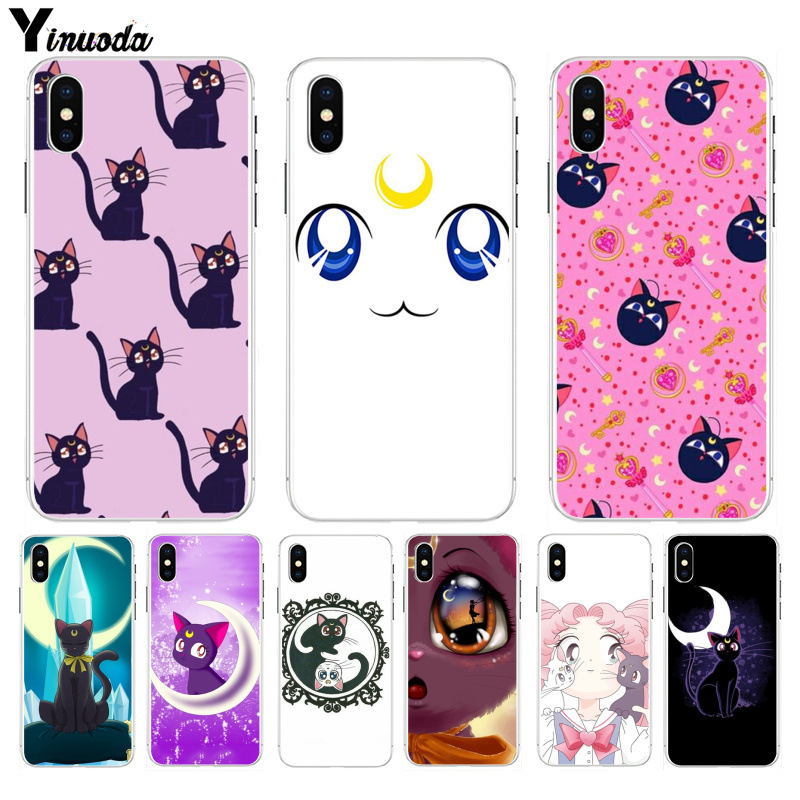Yinuoda Sailor Moon Beautiful Pink Purple Cat Luna Phone Cover For Iphone 6s 6plus 7 7plus 8 8plus X Xs Max 5 5s Xr Cellphones & Telecommunications