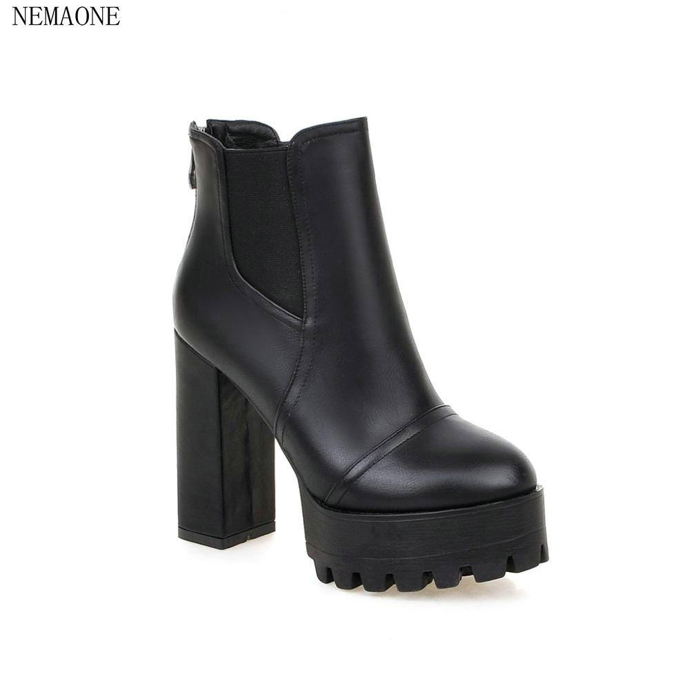 NEMAONE New Thick High Heels Snow Boots Ankle Boots For Women Zip Metal Sexy Boots Winter Shoes High Thick heels Platform Boots стоимость