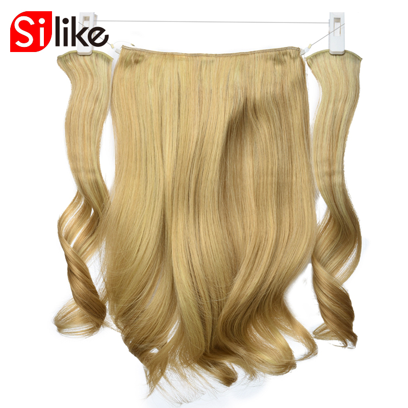Silike Synthetic Invisible Hairpieces Wave Curly Hair Extensions Fish Line Clip-in Hair Extensions High Temperature Fiber