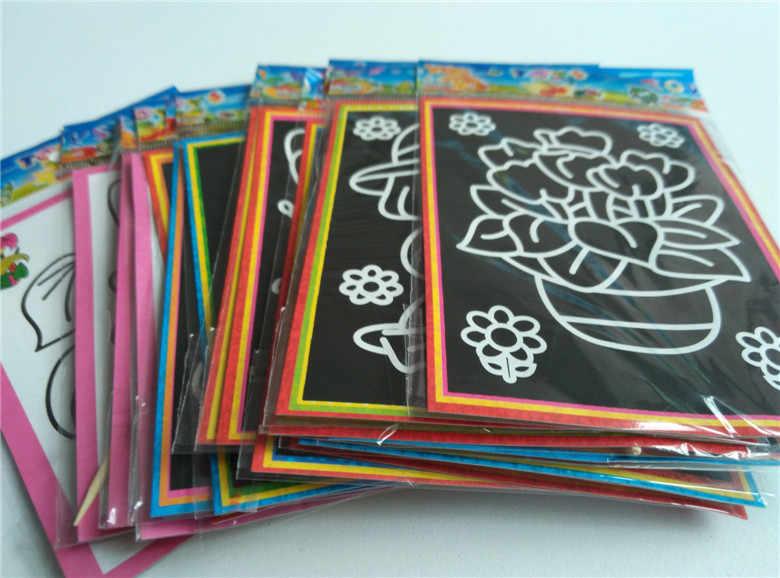 10 pcs 13x9.8 ซม.Scratch Art กระดาษ Magic ภาพวาดกระดาษพร้อมสำหรับเด็กของเล่นภาพวาดที่มีสีสันของเล่น