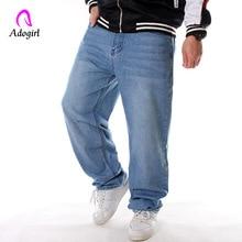 Men's Baggy Hip Hop Jeans 2019 Plus Size 30-46 Solid Skateboard Cargo Jeans for Men Loose Casual Jeans Tactical Denim Joggers men casual jeans plus size 40 38 42 44 46 male street dancer wwear skateboard hiphop baggy jeans man denim pants ashant
