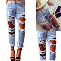 Fashion Women's Sexy Destroyed Ripped Distressed Denim Harem Pants Boyfriend Jeans