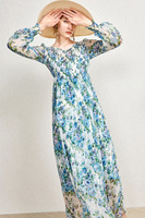 Women Dress Soft Blue Watercolor Printed Silk Lantern Sleeve V neck Pleated Dress