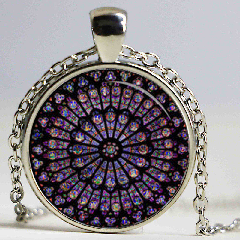 Rose window stained glass notre dame de paris cathedral pendant rose window stained glass notre dame de paris cathedral pendant necklace hz1 in pendant necklaces from jewelry accessories on aliexpress alibaba aloadofball Choice Image