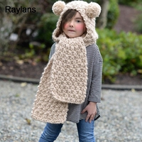 Raylans Kids Child Hat Winter Warm Knitted Crochet Hood Pompom Cap Cover Scarf