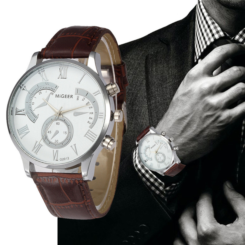 relojes mujer Quartz Wristwatches Men Luxury Sports Leather Strap Quartz Mens Wrist Watch relogio masculino gift 39J