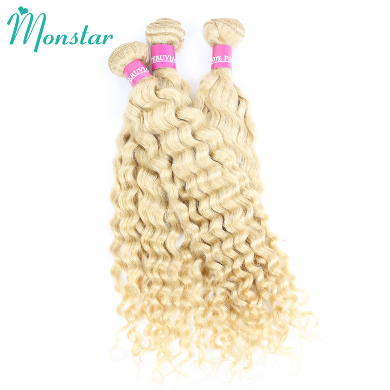 Monstar 1 3 4 Pcs Lot Honey Blonde Peruvian Hair Weave Deep Wave Bundles Deals 12