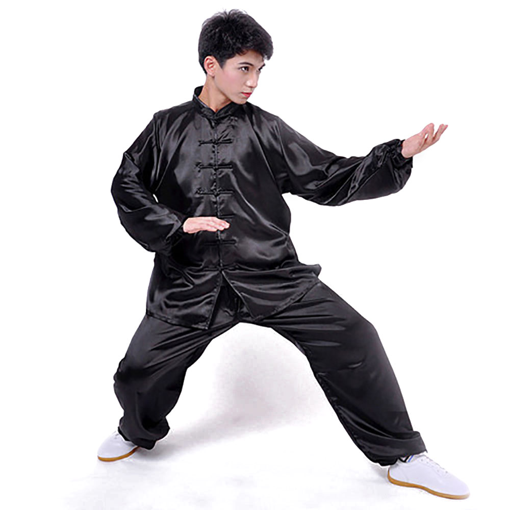 Adult Silk Chinese Traditional Kungfu Uniform Tai Chi Master Long Sleeve Outfit Unisex Martial Arts Tang Suit Training Uniforms