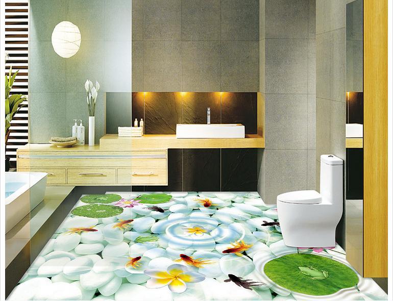 Photo personnalisée imperméable plancher papier peint 3 d pluie fleur pierres 3d mural PVC papier peint auto-adhérence sol wallpaer décoration