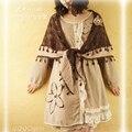 2015 Осень Старинные женщин Вышивка Чистая Жидкость цельный Dress Японский Стиль Мори Девушка Кружева Цветок Слой Лолита платья D144