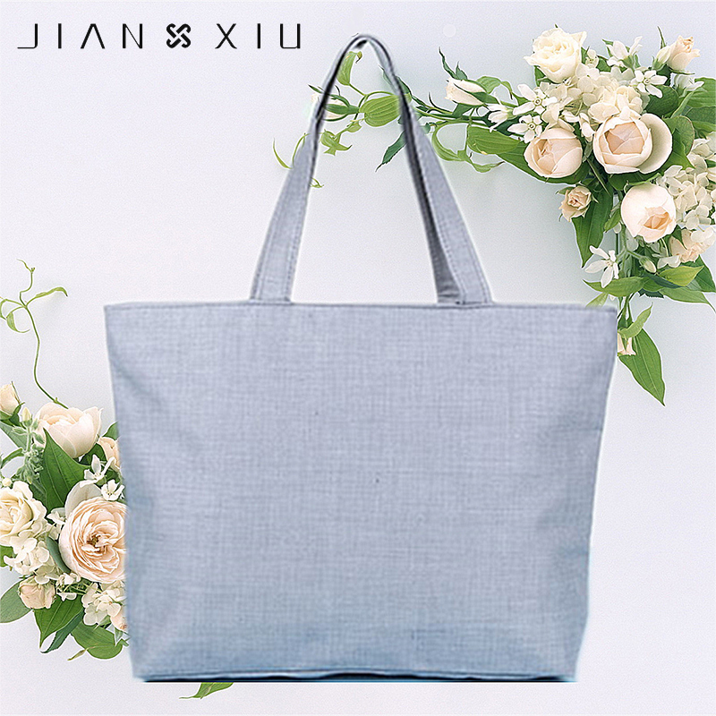 JIANXIU Fashion Women Casual Tote Canvas Handbag Beach Bag Female Large Capacity Tote Single Shoulder Shopping Bags Solid Color aosbos fashion portable insulated canvas lunch bag thermal food picnic lunch bags for women kids men cooler lunch box bag tote