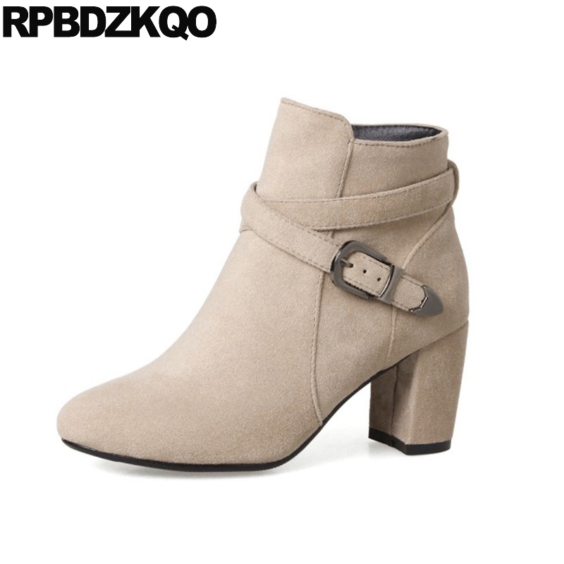 Beige Ankle Women Boots 2016 Round Toe 9 Suede Fall Chunky 2017 Big Size Ladies 10 Booties High Heel Short Shoes New Fashion