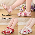 super quality 1pair Genuine Leather Children Sandals, flower Girl Sandals princess Shoes, female child sandals
