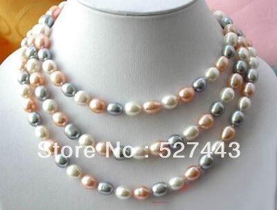 322f61902dd8 Envío libre al por mayor  50 12mm arroz blanco gris rosa de agua dulce  collar de perlas