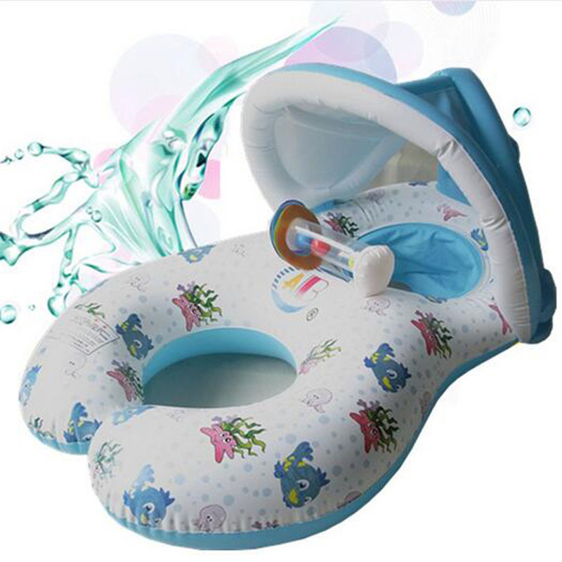 Inflatable Mother and Baby Swim Float Circle Ring Kids Seat With Sunshade Mother Baby Pool Swim Float Swimming Pool Accessories environmentally friendly pvc inflatable shell water floating row of a variety of swimming pearl shell swimming ring