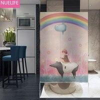 60x100cm Little girl balloon bear pattern electrostatic frosted glass film living room bedroom bathroom Windows doors glass film