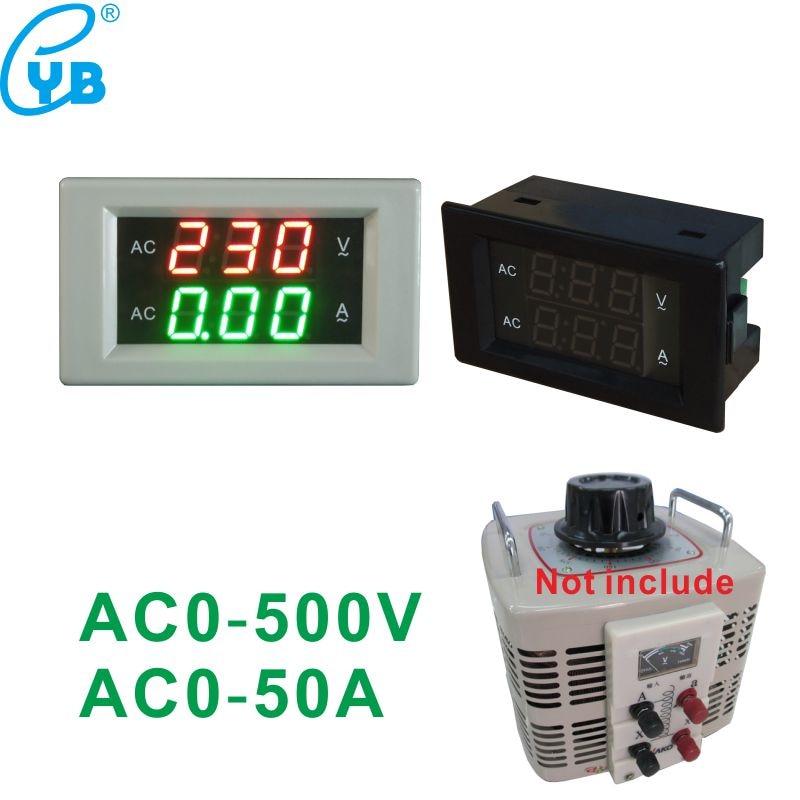 Medidor de tensão ac 0-50a, medidor de corrente monofásico tipo divisão ac 0-500v, painel amplificador de led voltímetro amperímetro digital, medidor de voltímetro