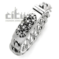 Hot Sale Occident Fashion Jewelry Stainless Steel Personality Rock Style Cool Men Bracelet Retro Cross Male