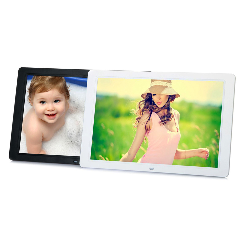 US 1280*800 Digital  15inch HD TFT-LCD Photo Picture Frame Alarm Clock MP3 MP4 Movie Player with Remote Control  Wholesale novelty run around wake up n catch me digital alarm clock on wheels white 4 aaa