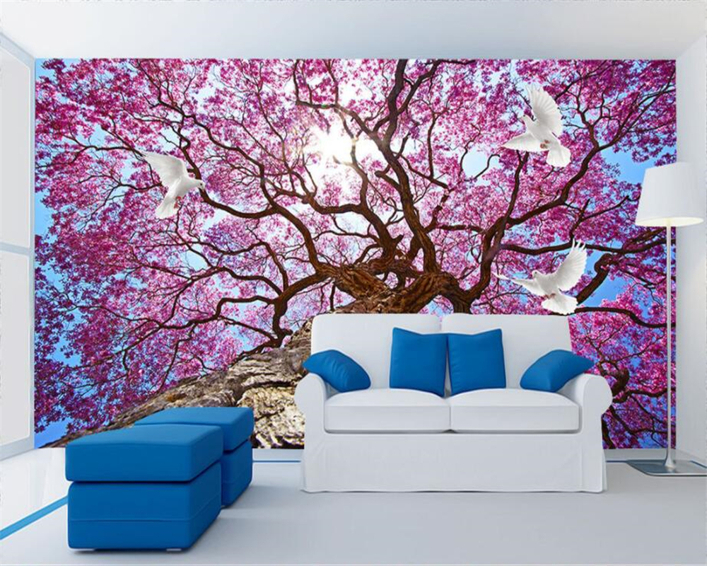 beibehang Custom Wallpaper Home Decorative Mural Aesthetic Tree Romantic Field TV Backgr ...