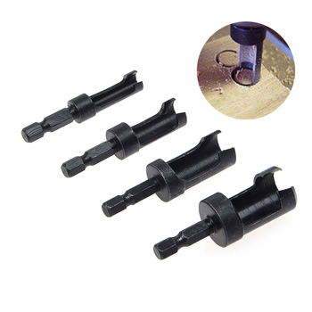 цена на 4pcs 6mm 10mm 13mm 16mm Carbon Steel Wood Work Plug Cutter Cutting Power Tool Wood Plug Cutter Cutting Tool Drill Bit Set