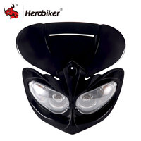 Motorcycle Headlight Fairing Head Lamp High Low Beam Motorcycle Dual Headlight Motocross Universal Headlamp For Universal