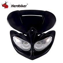 Мотоцикл фар обтекатель Глава лампы высокого/низкая луч мотоцикл двойная фара Мотокросс универсальный фары для Universal Moto