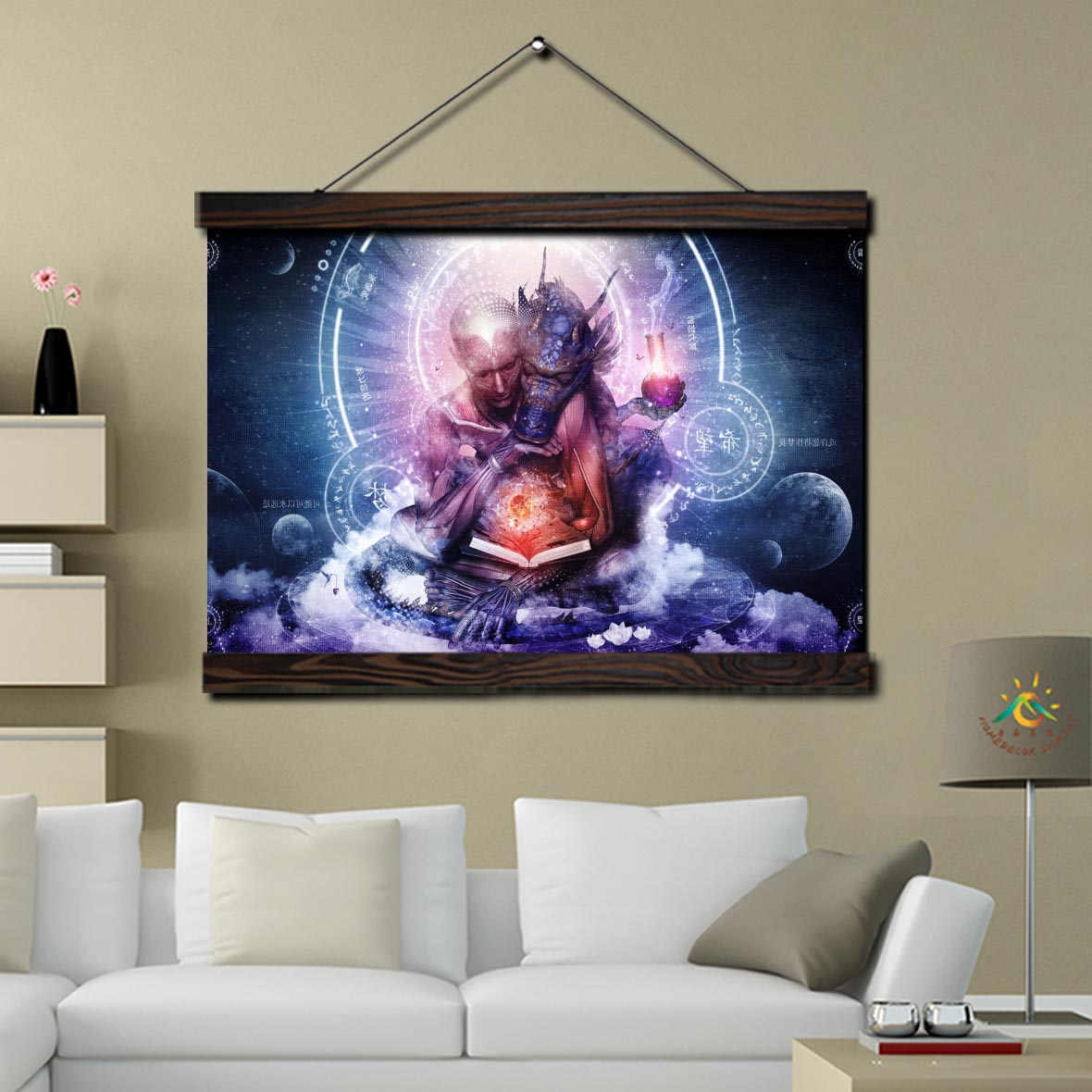 Sacred Spiritual Figure Scroll Painting Modern Canvas Art Prints Poster Wall Painting Artwork Wall Art Pictures Home Decor in Painting Calligraphy from Home Garden