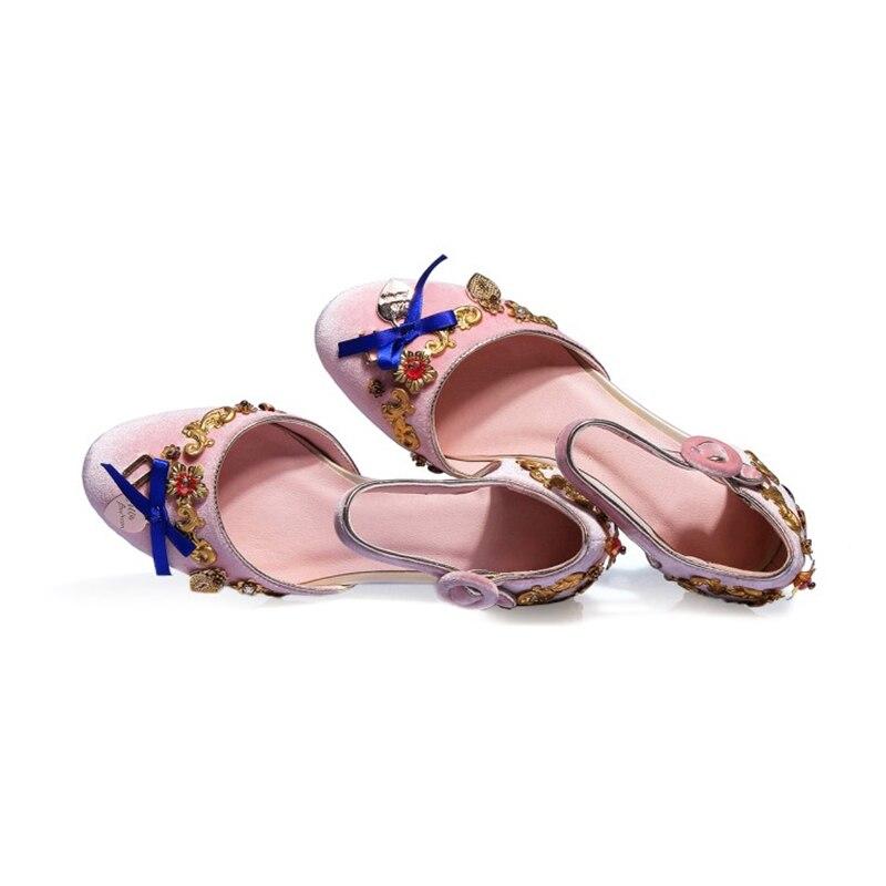Coeur Chaussures pu Sangle Métal Ciel Ethniques Design Chaude Sandales Stylesowner Talons Étranges Cheville Décoration rouge Noeud Femmes Noir rose Pleuche Vente Royal En PtOxxqHw