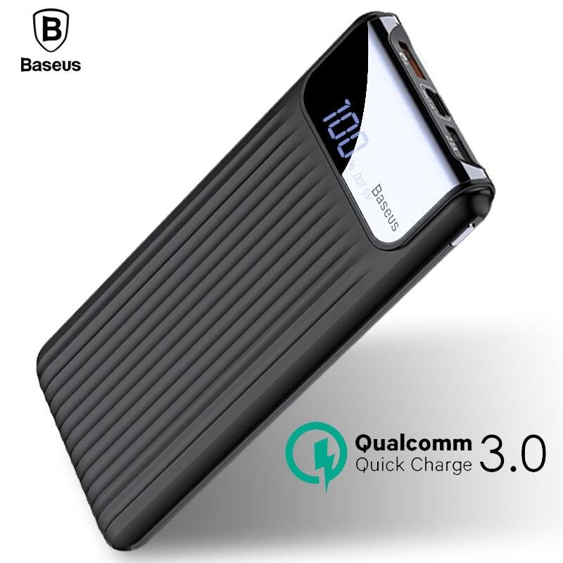 Baseus Quick Charge 10000 Power Bank 3,0 mAh Dual USB LCD Powerbank cargador de batería externo para teléfonos móviles Tablets Poverbank